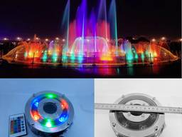 Подводный прожектор светильник фонарь RGB 6Вт IP68 с пультом для фонтана бассейна водоема