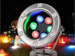 Подводный прожектор светильник LED RGB IP68 6W 12V