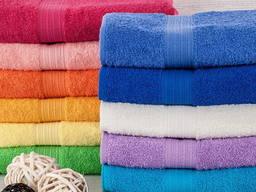 Полотенце махровое, банное, белое, цветное для гостиницы,