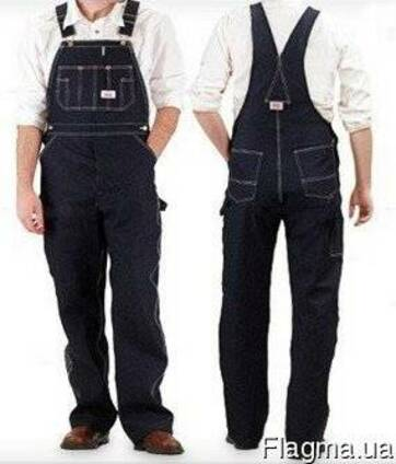 Полукомбинезон джинсовый рабочий, спецодежда, мужской,