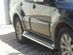 Пороги из труб для Mitsubishi Pajero Wagon IV с 2007 г.