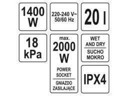 Порохотяг промисловий YATO 1400 Вт 20 л