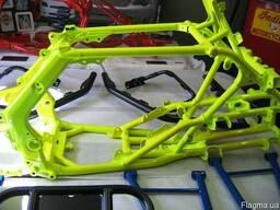 Порошковая покраска велосипедной рамы, деталей мотоцикла