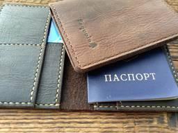 Портмоне під паспорт, шкіра, ручна робота