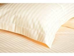 Постель страй-сатин, цвет ваниль пошив текстиля гостиниц