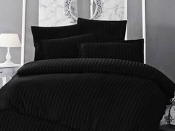 Постельное белье страйп-сатин черный