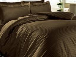 Постельное белье страйп-сатин коричневый