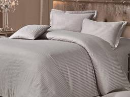 Постельное белье страйп-сатин серый