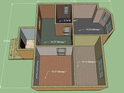 Постоим дом. Площадь 54,65 м. кв. Размер 7,2 на 8м.