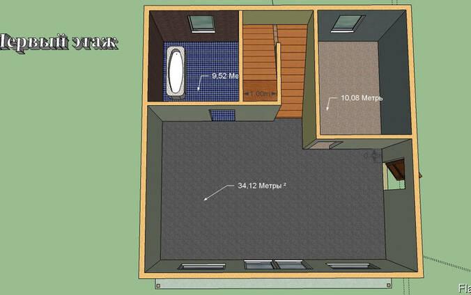 Построим дом 128 м. кв. Размер 8 на 8м. 2 этажа. Балкон.