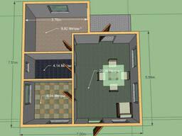 Построим дом 47 м. кв. Размер 7, 5 на 7м. С террасой.