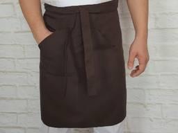 Поварской фартук коричневый. Ткань: габардин