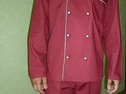 Китель для повара бордового цвета и брюки в наличие