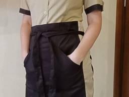 Поварской костюм женский. Ткань:батист, цвет коричневый, короткий рукав