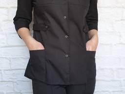 Поварской костюм женский. Ткань: батист, цвет черный, рукав 3/4, кнопка