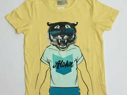 Повседневная желтая футболка для мальчика с принтом тигра, р. 130