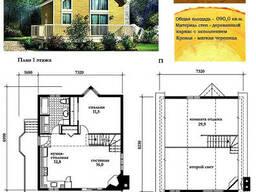 Проект каркасно-щитового деревянного дома с заполнением. ..