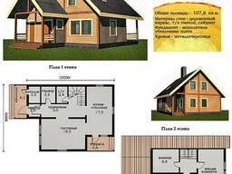 Проект каркасно-щитового дома 107, 6 м2. Проект дома. ..