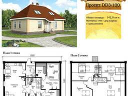 Проект каркасно-щитового дома 142 м2. Проект дома. ..