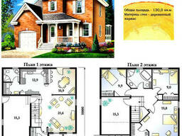 Проект каркасно-щитового дома с заполнением 130 м2. .. .