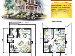 Проект каркасно-щитового дома с заполнением 90 м2. Проект. ..
