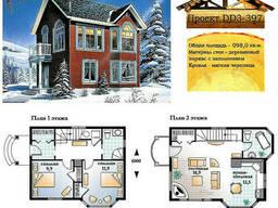 Проект каркасно-щитового дома с заполнением 98 м2. Проект. ..