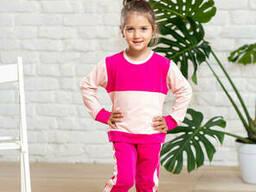 Прогулочный трикотажный костюмчик для девочки брюки с кофтой розового цвета 9-12 лет