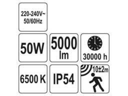 Прожектор з SMD-діодним випромінювачем і датчиком руху YATO 50 Вт 5000 лм 120° 70 діодів