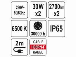 Прожектори з SMD-діодами YATO 2 x 30 Вт 2 x 2700 лм на штативі 0.6-1.2 м