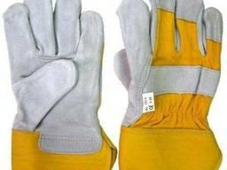 Рабочие перчатки, краги, комбинир (кожа хлопок)серо\желтые