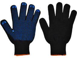 Рабочие перчатки трикотажные усиленные с ПВХ точкой