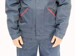 Рабочий костюм куртка брюки синим с красными вставками и СВП, грета ЧШК