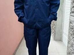 Костюм рабочий тк. Саржа, куртка с полукомбинезоном, синий