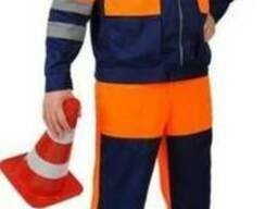 Рабочий костюм с свп полосами сигнальный Дорожник