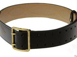 Ремень офицерский, черный, кожаный, мужской, ширина 5 см