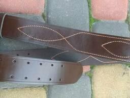 Ремень офицерский кожаный коричневый 50мм никель