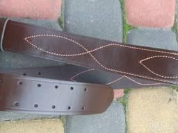Ремень офицерский кожаный черный/коричневый