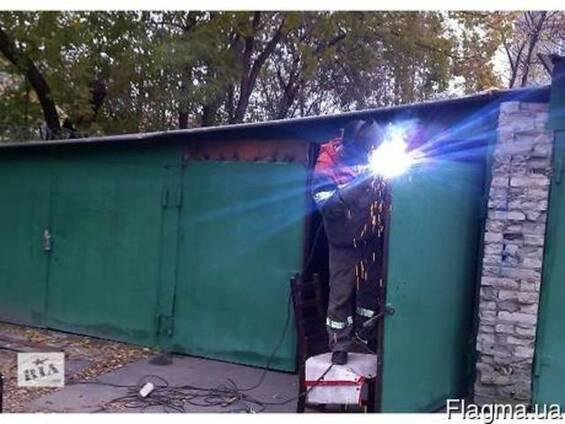 Ремонт железных гаражей, усиление ворот сварочные работы