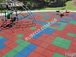 Резиновая плитка 500х500мм красный цвет 30мм толщина. Резина