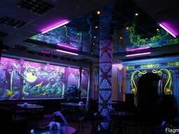 Роспись светящимися красками стен, потолков, фасадов, авто и