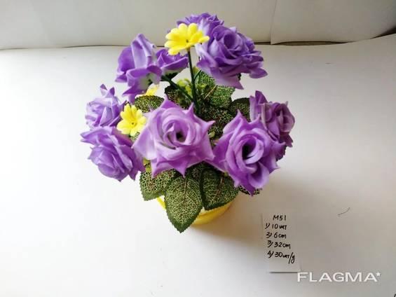Роза искусственная 10 бутонов