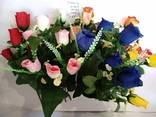 Роза искусственная 6 бутонов, цветные бутоны с добавками - фото 2