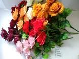Роза садовая искусственная 7 бутонов - фото 2