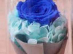 Роза в колбе с LED подсветкой Большая - Синяя