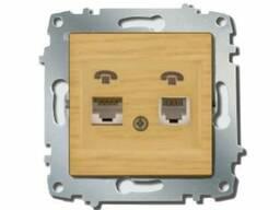 Розетка 2-я аудио ZENA модуль береза/клен EL-BI