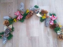 Рождественская Гирлянда Новодняя из натуральных шишек