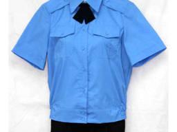 Рубашка форменная под резинку, короткий рукав, голубая ткань