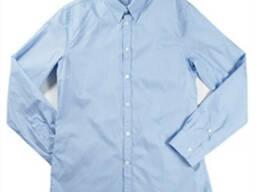 Рубашка мужская, голубая, с длинным рукавом.