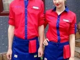 Рубашка официанта, фартук официанта(красно-синий) пошив
