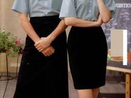 Рубашка официанта серая фартук официанта черный костюмы для официантов пошив